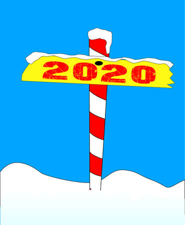 A sign at the north pole with the message 2020 Ilustração