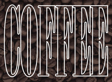 A collection of fresh coffee beans with the text coffee overlay