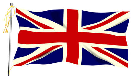 The United Kingdom flag, the Union Jack against a white background. Фото со стока - 119278632