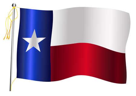 La bandera del estado de los Estados Unidos de Texas contra un fondo blanco.