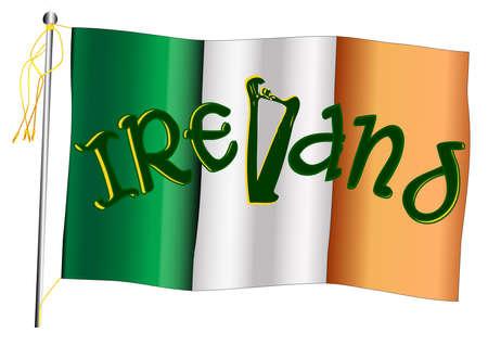 The Irish flag set against against a white background. Ilustração