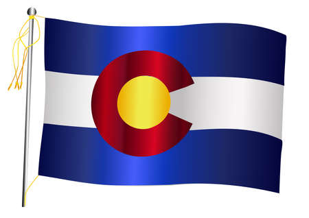 The Colorado US state flag set against against a white background.