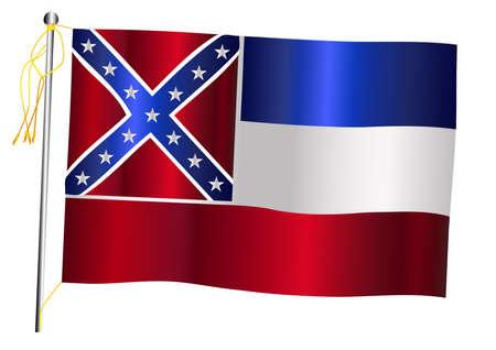 The Mississippi US state flag set against against a white background.