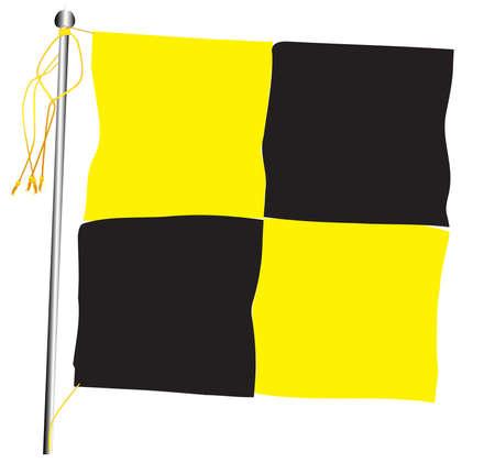 Quarantine flag set against against a white background.