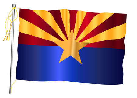 The Arizona US state flag set against against a white background.