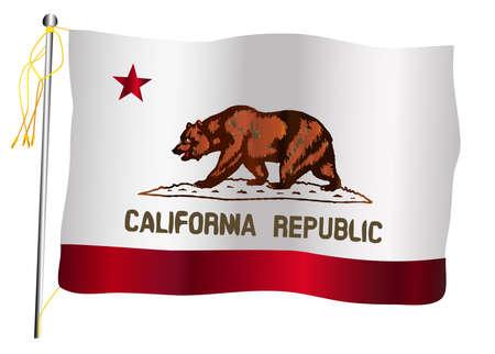 The California State US state flag set against against a white background. Ilustração
