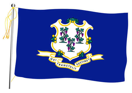 The Connecticut State US state flag set against against a white background.