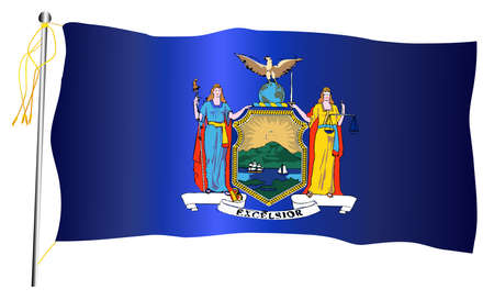 The New York State US state flag set against against a white background.