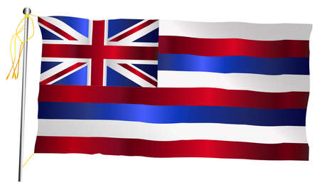 The Hawaii State US state flag set against against a white background.