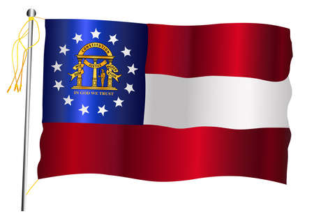The Georgia State US state flag set against against a white background. Ilustração
