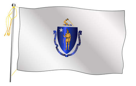 The Massachusetts State US state flag set against against a white background.