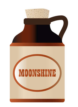 Isolated moonshine bottle with cork and the legend moonshine