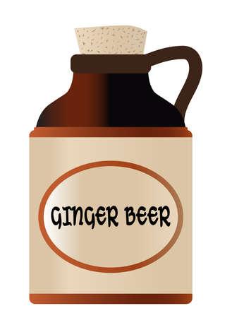 Botella de cerveza de jengibre aislada con corcho y la leyenda moonshine Ilustración de vector