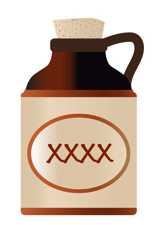 Isolated xxxx beer bottle with cork and the legend moonshine