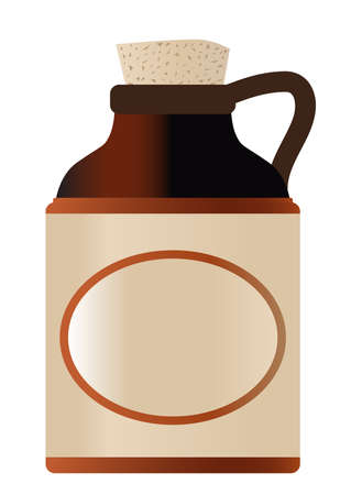 Blank stoneware beer bottle with cork and copy space