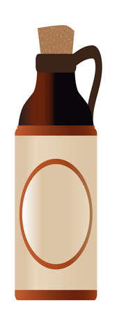 Tall Blank stoneware beer bottle with cork and copy space