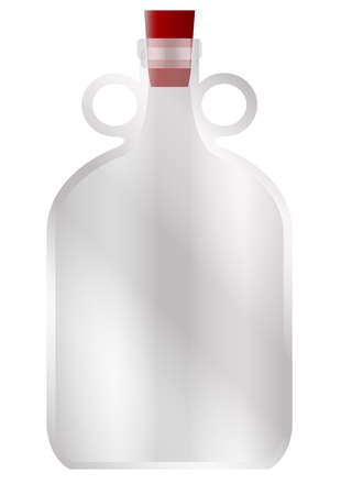 A large glass demijohn style container with rubber stopper and copy space