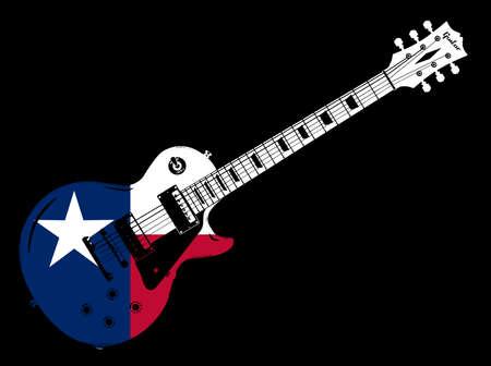 Una guitarra eléctrica en conjunto con la bandera del estado de Texas, EE. UU. Ilustración de vector
