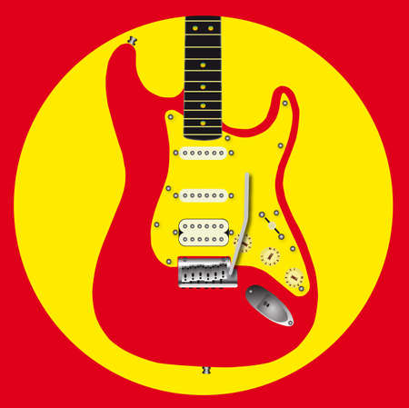 A red electric guitar icon in red and yellow