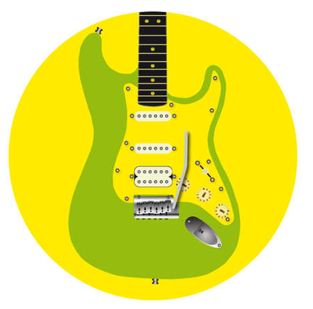An electric guitar icon in green and yellow