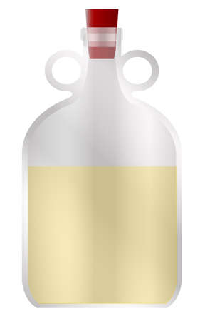 A large glass half full demijohn style container with rubber stopper and copy space Illustration
