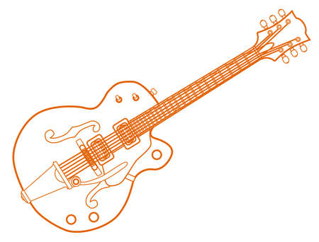 A typical country and western guitar in orange white line over a white background Vector Illustration