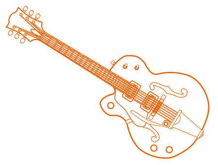 A typical left handed country and western guitar in orange white line over a white background