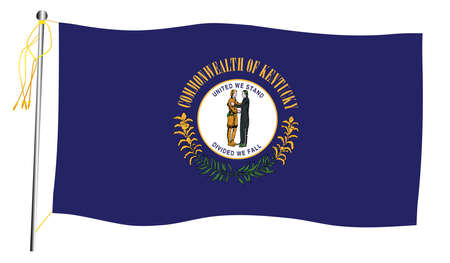 The Kentucky State US state flag set against against a white background.