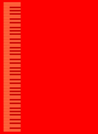 Red shad piano keys set against a red background 向量圖像