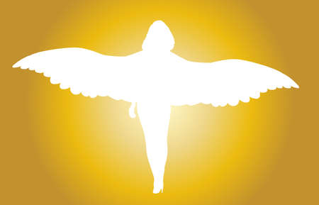 A white angel silhouetted against a golden background