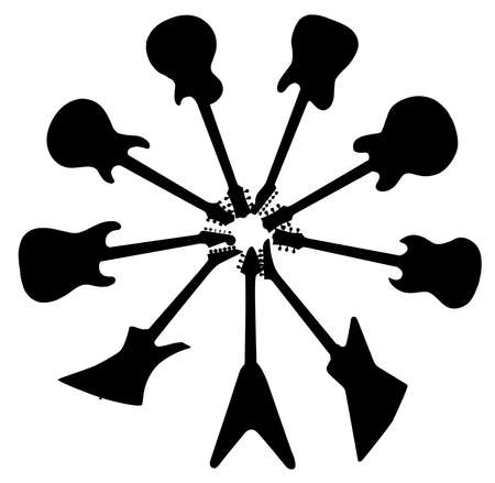 A collection of b;ack guitar silhouettes in a corcle isolated on a white background  イラスト・ベクター素材