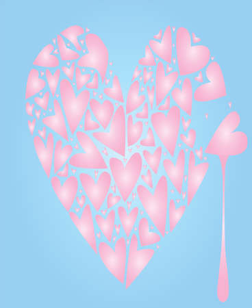 A large pink heart made up of several smaller hearts against a pale blue background with a tear of blood.