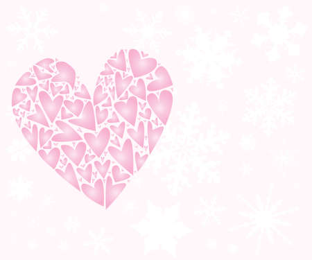 A large pink love heart surounded with falling snowflakes against a pink backdrop Stock Vector - 123384389