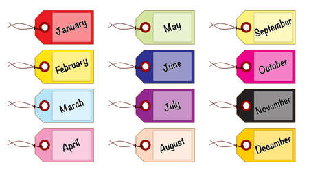 A collection of 12 pastel coloured month tags all over a white background Ilustração