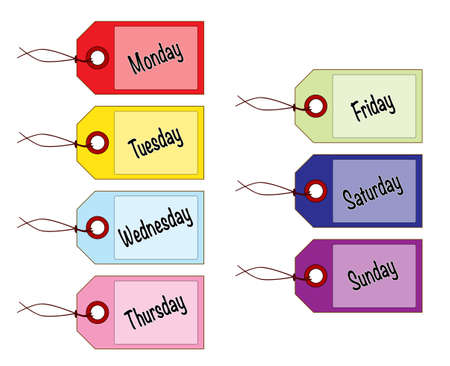 A collection of 7 pastel coloured day of the week tags all over a white background Ilustração