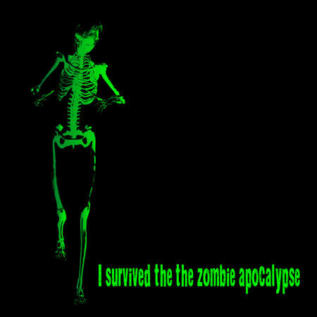 A green skeleton with outstretched arms all over a black background and the text I Survived The Zombie Apocalypse Ilustração