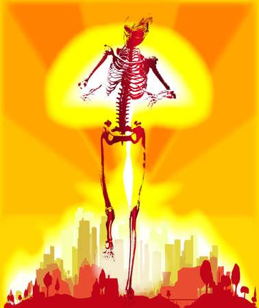 A hydrogen bomb blast with overlay of a walking human skeleton Ilustração
