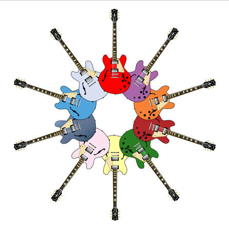 Semi solid electric guitars in a circle on a white background