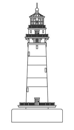 A lighthouse line drawing isolated against a white background. Ilustração