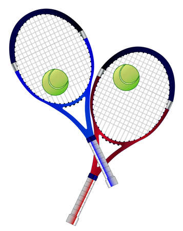 A pair of tennis rackets and balls isolated over a white background