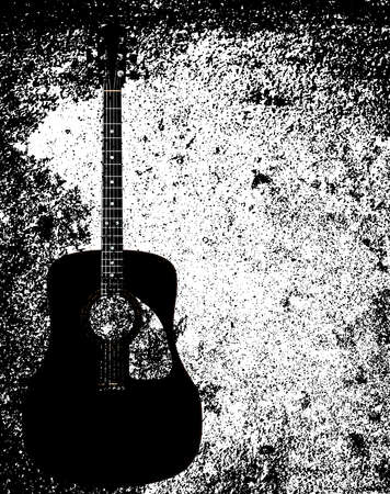 A typical acoustic guitar isolated over a grunge background