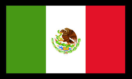 Flag of the South American country of Mexico over a black background Illustration
