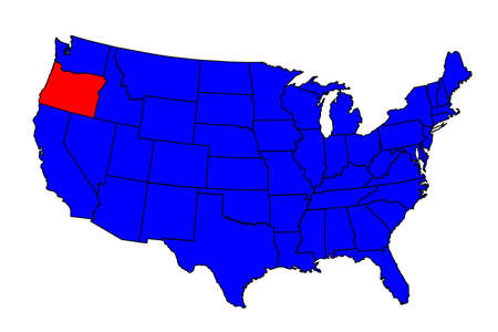 Oregon state outline inset into a map of The United States of America