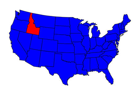 Idaho state outline map icon inset  into a map of The United States of America