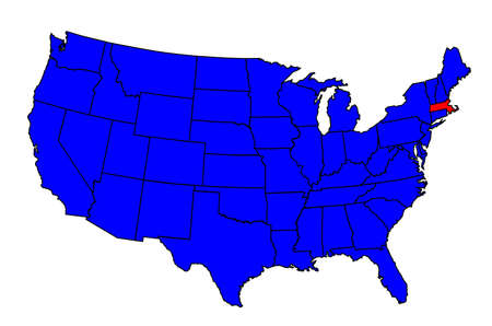 Massachusetts state outline and silhouette inset into a map of The United States of America Ilustração