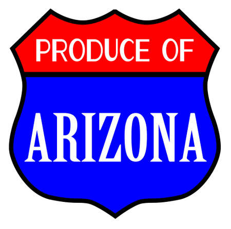 Route 66 style traffic sign with the legend Produce Of Arizona isolated