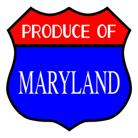 Route 66 style traffic sign with the legend Produce Of Maryland