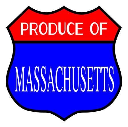 Route 66 style traffic sign with the legend Produce Of Massachusetts