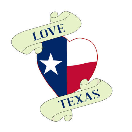 A tattoo style logo with Texan flag heart and scroll