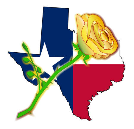 Outline of the state of Texas with flag and yellow rose isolated